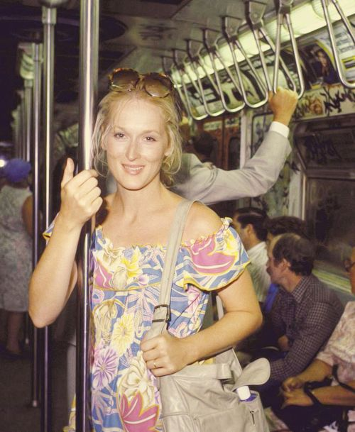 Meryl Streep on the subway.