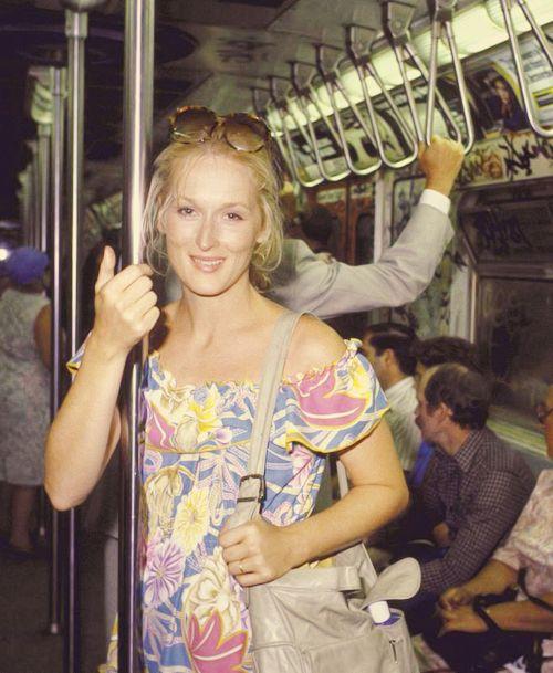 Meryl Streep on the subway.
