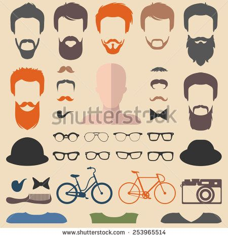 Best Graphic Elements Images On Pinterest Flat Style - Mens hairstyle generator app