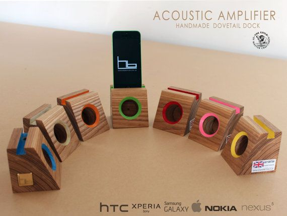This acoustic amplifier enhances the sound of your phone, without the use of batteries. It is portable and can be used anywhere from bedside to the office.  Hard wood timber is used in construction, also a traditional dovetail shape is featured. One of my favourite hand cut joint. Used in my furniture, howardbutler.co.uk  You can customize the colour.  just pick which phone you have.