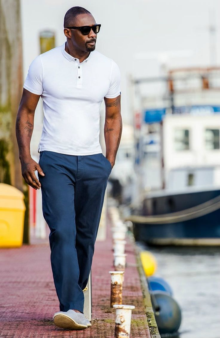 idris elba white polo shirt for men