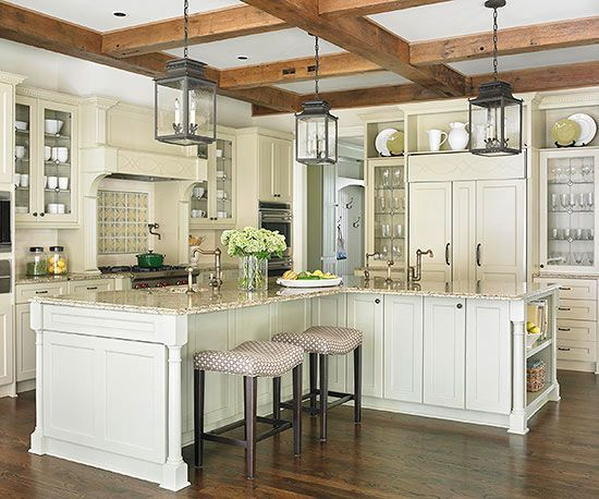 l shaped kitchen island ideas a trio of oversize lanterns ground this color 8848