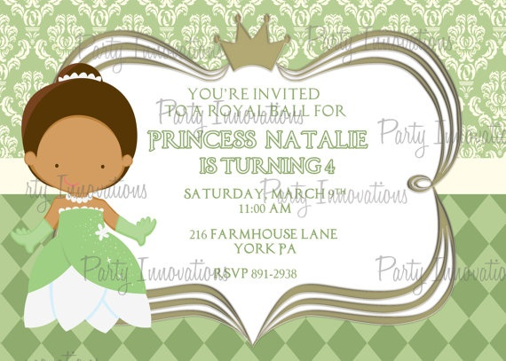 113 best images about Tiana The Princess And The Frog on – Princess Tiana Birthday Invitations
