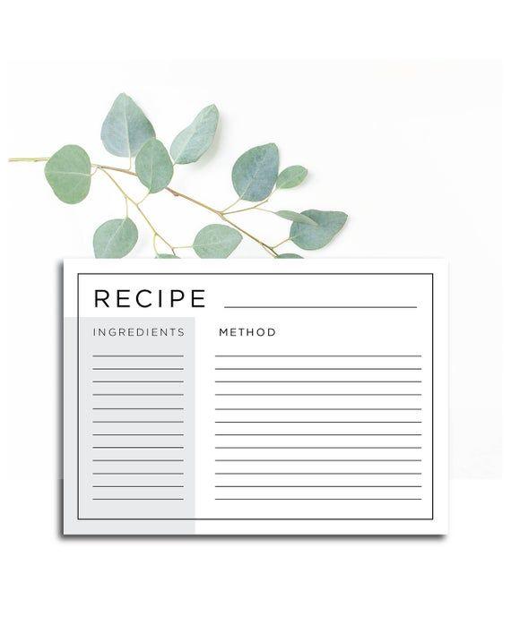Recipe Card A5 Recipe Card Digital Download Printable Pdf Editable Pdf Modern Clean Simple Grey And Black Simple Lines Recipe Cards Recipe Cards Template Recipe Cards Printable Free