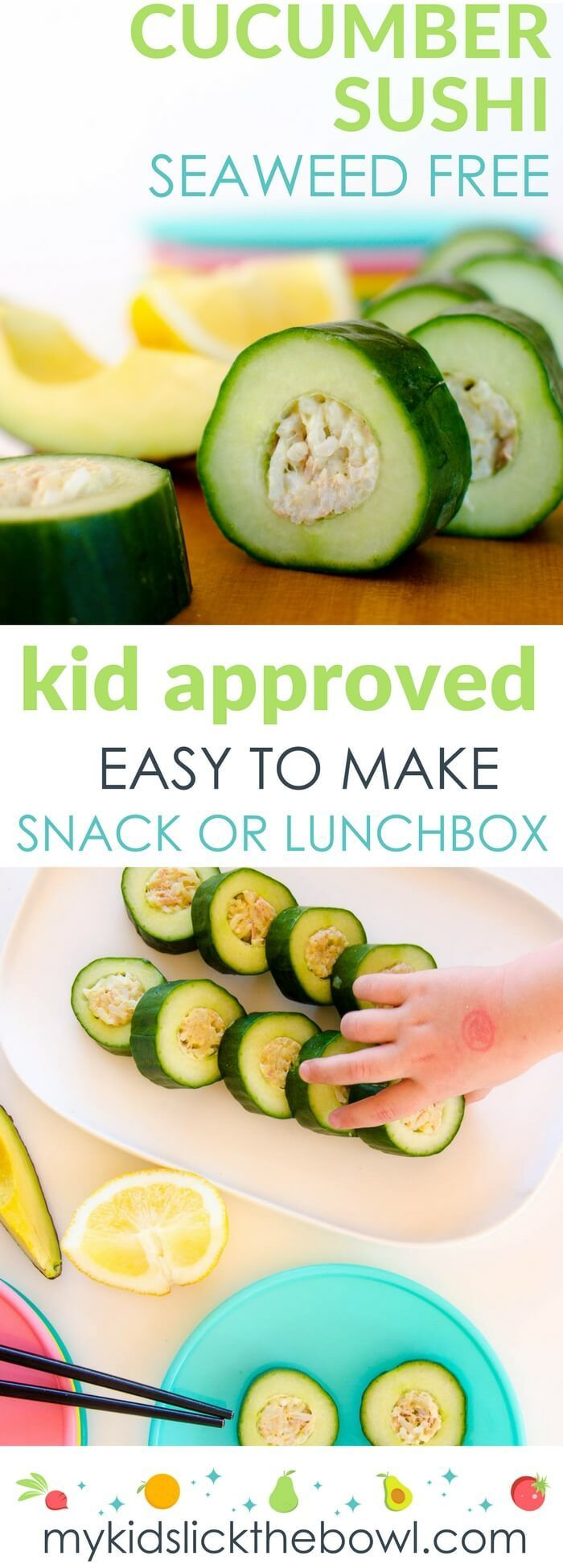 Cucumber sushi for kids, easy, healthy recipe to make homemade sushi with no seaweed. A fun snack or lunchbox item for kids. Turn your kids into sushi lovers