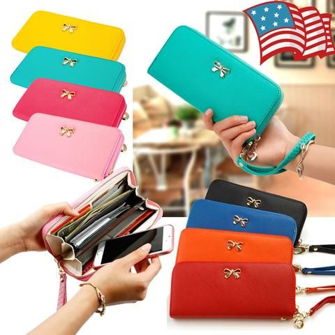 Women Leather Clutch Wallet Long Card Holder Case Purse Handbag