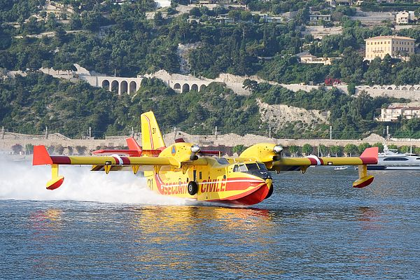 "Firefighting Water Bomber: ""Super Scooper"" ©Darin Volpe. A Bombardier 415 ""Super Scooper"" at the Bay of Villefranche, France Buy a print at http://shop.dvtwist.com/featured/super-scooper-firefighting-water-bomber-in-villefranche-sur-mer-france-darin-volpe.html"