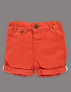 Linen Blend Turn Up Hem Shorts