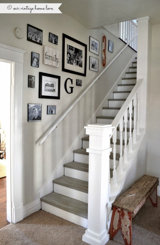 Stairway Renovation ~ Cut Out Wall And Add Spindles/rail, Paint Steps With  Chalk