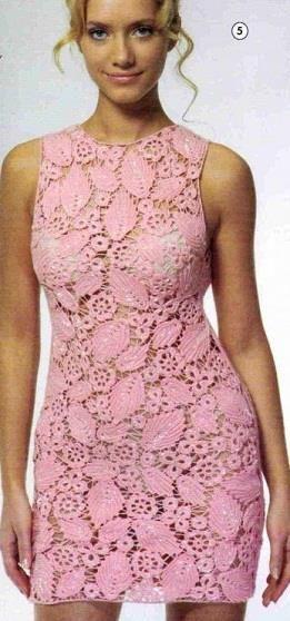 Платье крючком описание и схема