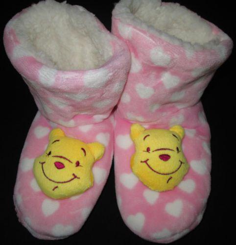 Kids-Boots-Slippers-Girls-Winnie-Disney-Fluffy-Soft-Warm-Childrens-Sz-13-3-NEW