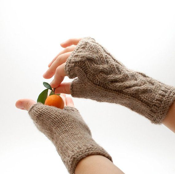 Knit fingerless gloves beige  Eco Cristmas gift  by WoolenClogs,