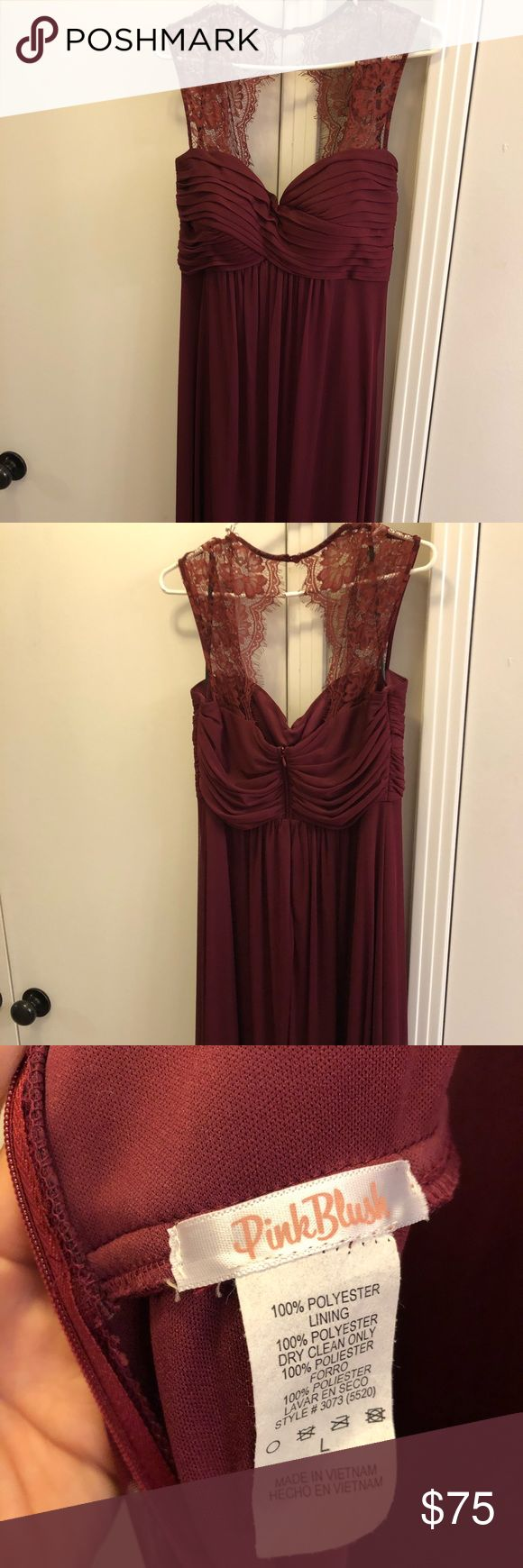Pink Blush Boutique Maternity Gown Floor length maroon chiffon maternity gown, size large. Lace top, zip up back, padded bodice. Worn once, like new condition. Pink Blush Maternity Dresses