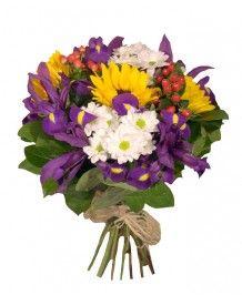 Buchete de flori Buchet iris si floarea soarelui