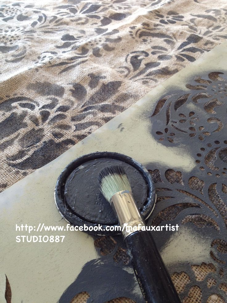 Burlap Fabric Stenciling - mafauxartist STUDIO 887 - with Annie Sloan Chalk Paint in Graphite and Delicate Floral Panel wall stencil