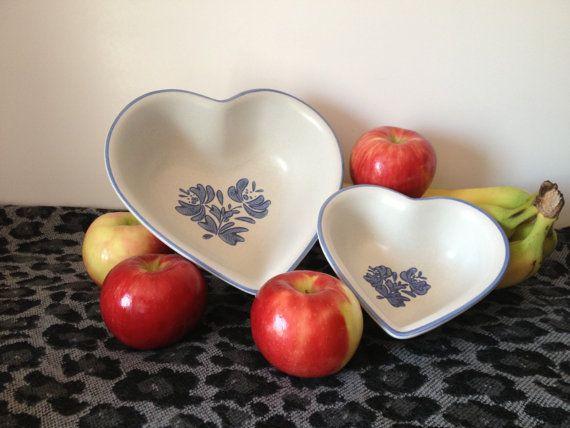 2 Heart Shaped Bowls by Pfaltzgraff Yorktowne by NeutralNellies