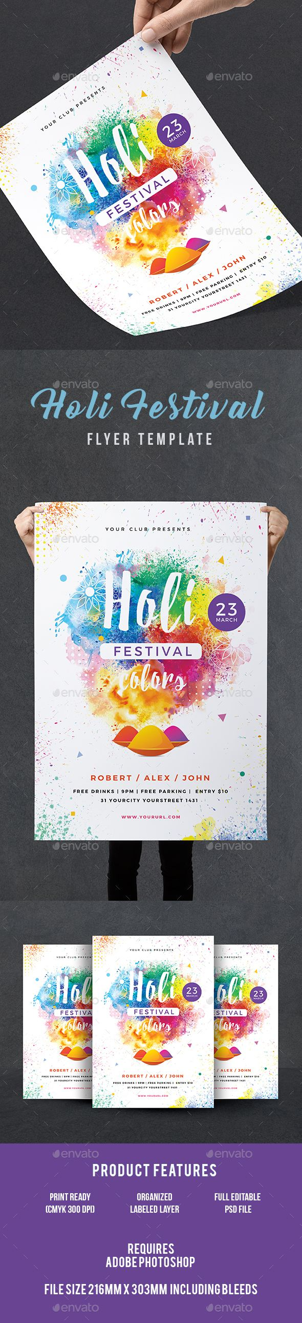 Holi Party Flyer — Photoshop PSD #summer #festival of color • Download ➝ https://graphicriver.net/item/holi-party-flyer/19506230?ref=pxcr