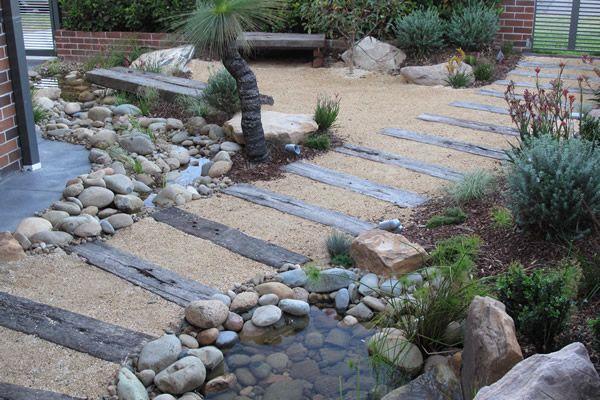 Australian Garden path with railway sleepers