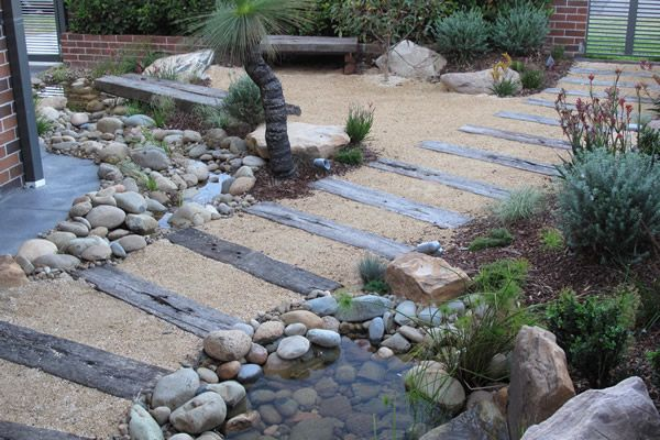 Australian Garden path with railway sleepers
