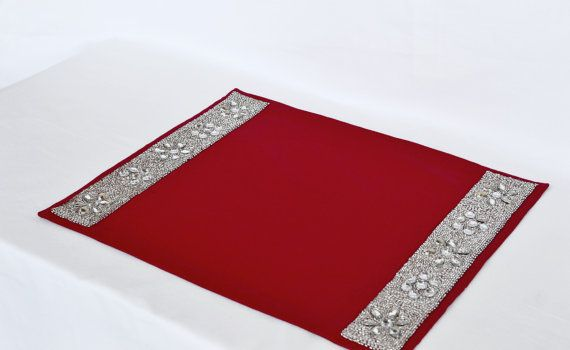 Sequin Placemats Set of 4 Red placemats diamond by AmoreBeaute