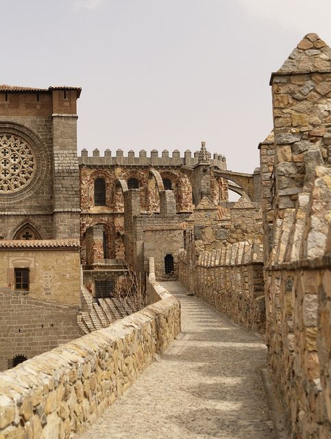 Avila, Castile and Leon, Spain - The walls of Avila are ten feet thick and 40 feet high with 90 guard towers and 9 narrow arched gates.  It was built during the 11th-century.