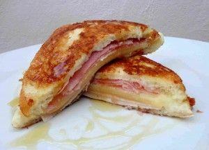 Montecristo Sandwich | Ingredients-Pan de molde.-Jamón cocido.-Pechuga de pavo.-Queso suizo en lonchas.-Huevo batido.-Leche.-Sal.-Aceite de oliva.-Sirope de arce.