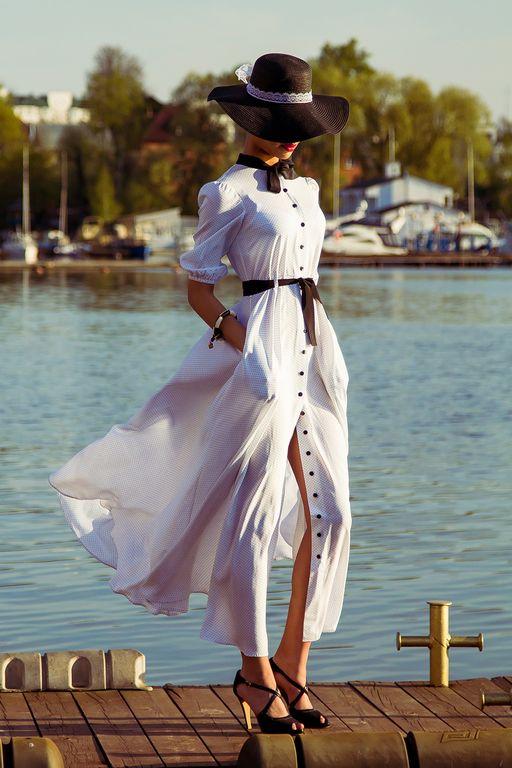 Купить Длинное платье в горошек - черно-белый, в горошек, платье, платье в пол, Платье нарядное