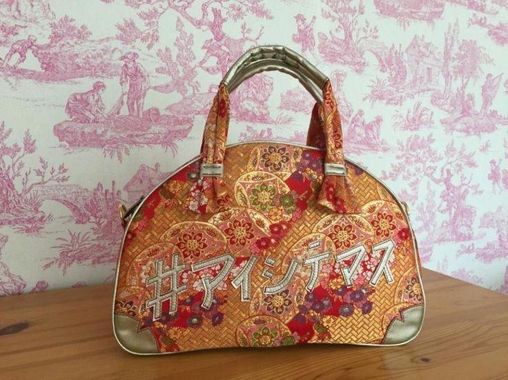 Rare Made in Japan Hina Doll Kimono Boston bag Handmade Handcraft Party Red Gold #ILOVEYOU