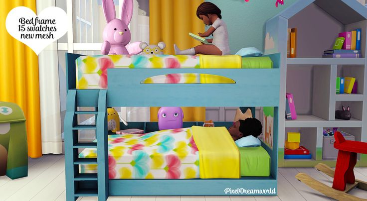 Functional Toddler Bunk Bed Frame & Zero Footprint MattressBunk beds for your toddlers. Decided to just do the one mattress so that you din't have 2 lots of every recolour you need lagging up your...