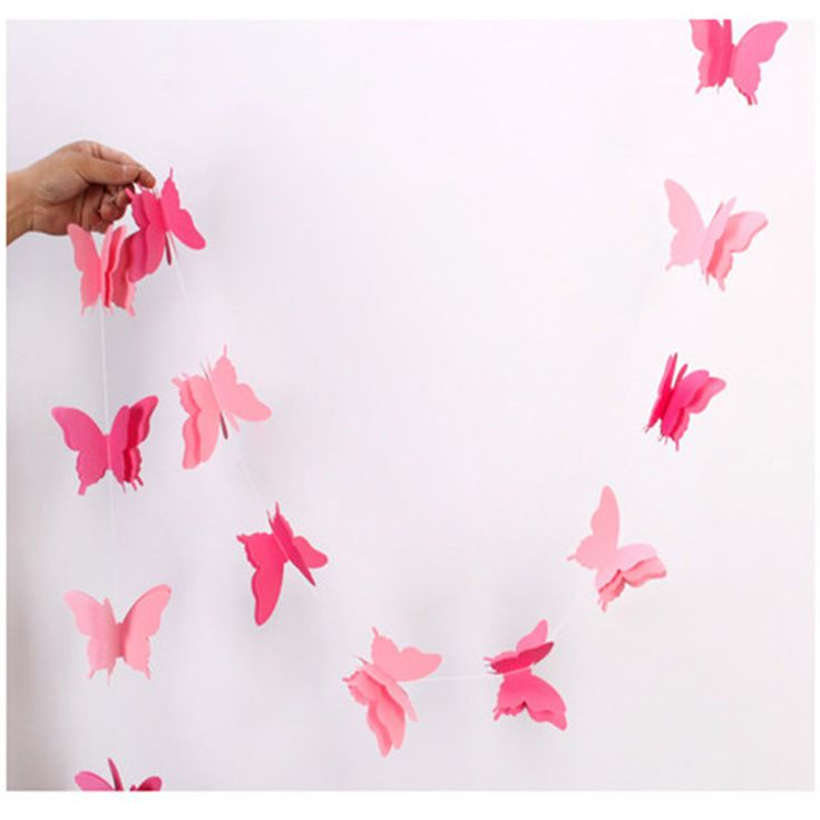 Pink Butterfly 2.8Meters/One Colorful Ribbon Wedding Birthday Decoration Hanging Party Suppliers  Streamers