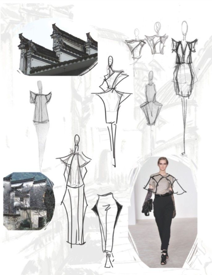 Fashion Sketchbook - architecture-inspired fashion design with fashion sketches & inspirations; fashion portfolio // Jiayin Li