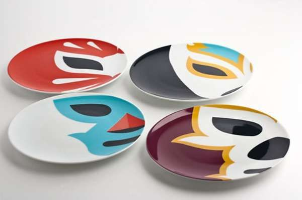 Lucha Libre dinnerware: what if I did that colored sharpie drawing on a plate and set it in the oven thing?