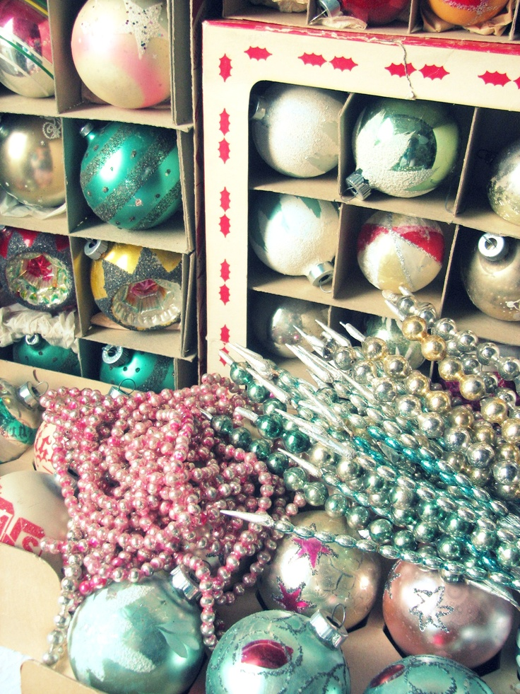 vintage Christmas ornaments, collections