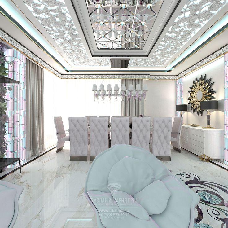 Интерьер гостиной со столовой. Фото
