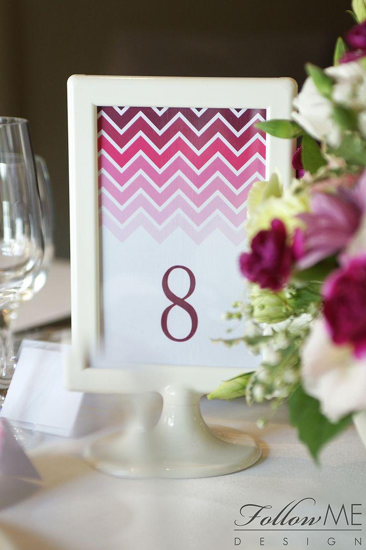 Dekoracje stołu / Numery stołów / Różowe dekoracje ślubne od FollowMe DESIGN / Table Decorations / Table Number / Pink Wedding Decorations & Details by FollowMe DESIGN
