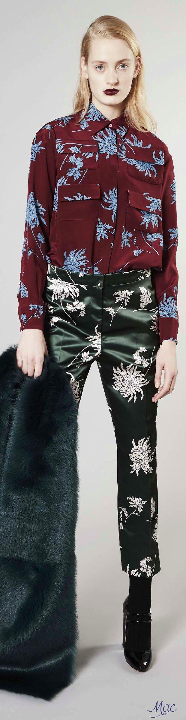Rochas Pre F-16, floral print ensemble: oxblood blouse, green crop pants.