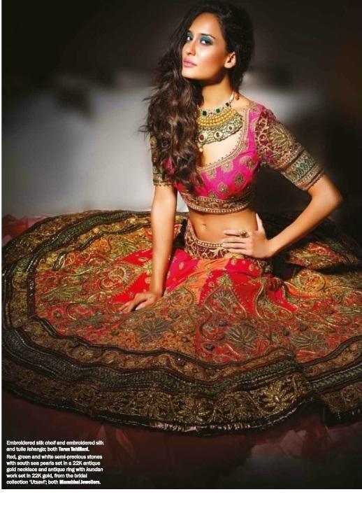 Lisa Haydon's Noblesse magazine Nov 2013 photoshoot in http://www.TarunTahiliani.com/index.html#/HOME Lehenga | Oneindia Gallery