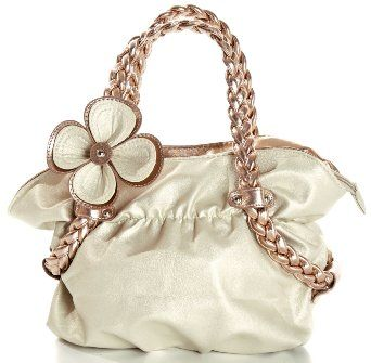 CANDICE Flower Soft Leatherette Metallic Weaved Double Handle Shoulder Bag Satchel Hobo Purse - I love this!  So pretty!