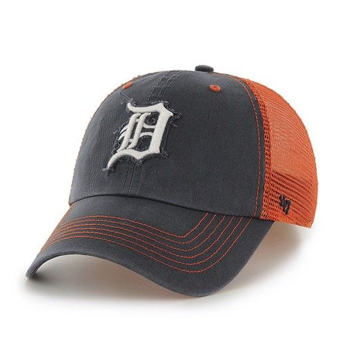 Detroit Tigers '47 Brand Vintage Fitted Hat. The relaxed stretch fit cap features a raised embroidered on twill Tigers logo on the front and a flat embroidered logo on the back. The hat is made of 100