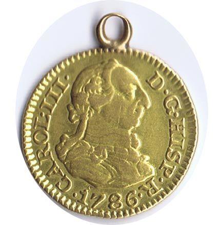 Moneda de oro 1/2 escudo Carlos III 1786 Madrid DV.