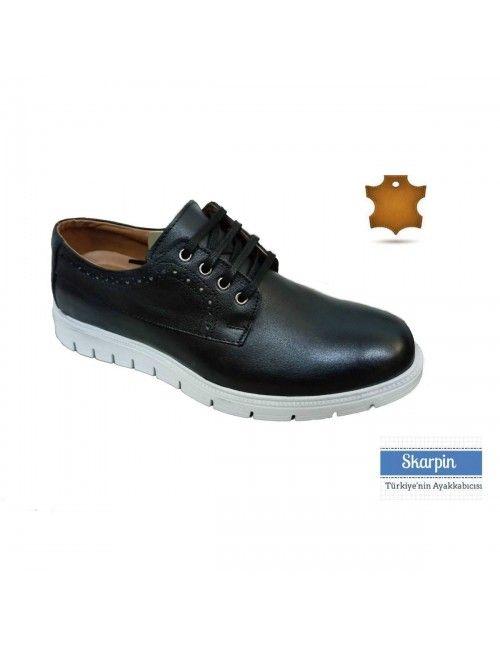 Deri Siyah Bağcıklı Erkek Ayakkabı EVA HSE523894 Skarpin Ayakkabı #deri #siyah #erkek #ayakkabı #moda #giyim #kombin #skarpin