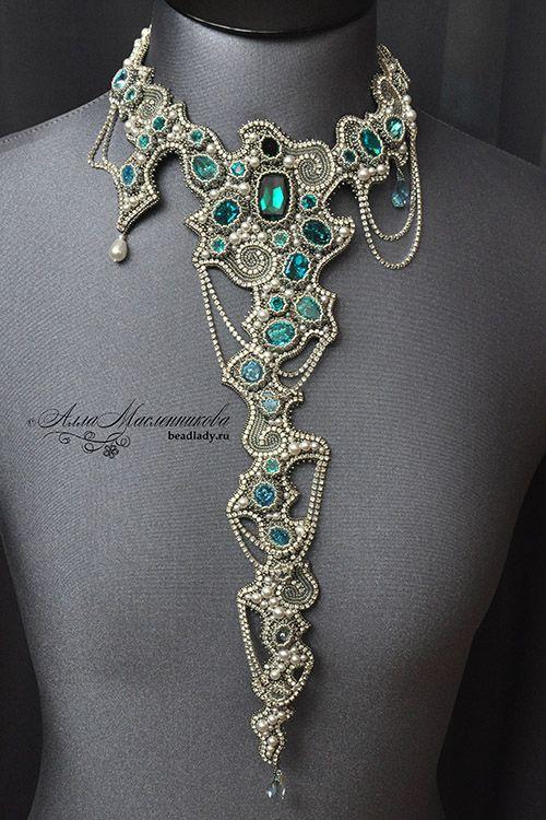 Waterfall necklace by Alla Maslennikova - http://www.beadlady.ru/eng/Jewellery/index.html