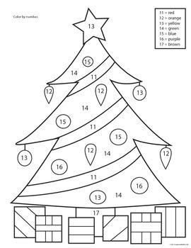 Christmas Tree Color by Number Worksheets PreK, K, 1st