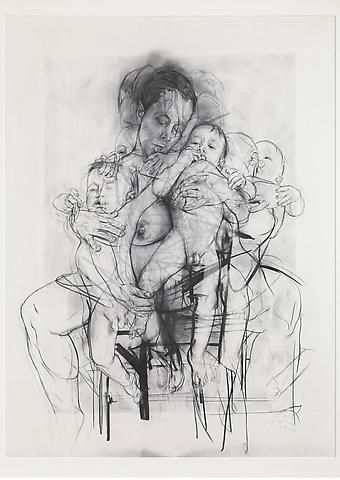 Drawings by Jenny Saville, what a fucking good drawing! and its pretty massive and is one of the only 'mother and child' drawings that I have seen that has movement in it.