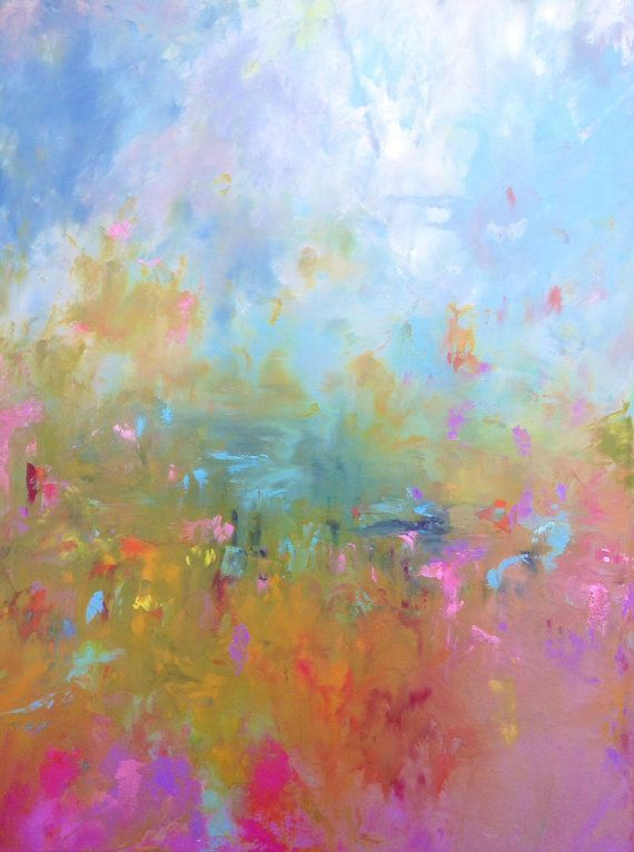 """Abstract Landscape - 'Baby you're a Firework' - acrylic painting on canvas - size 80cm x 60cm (32""""x24"""") on Etsy, $250.00"""