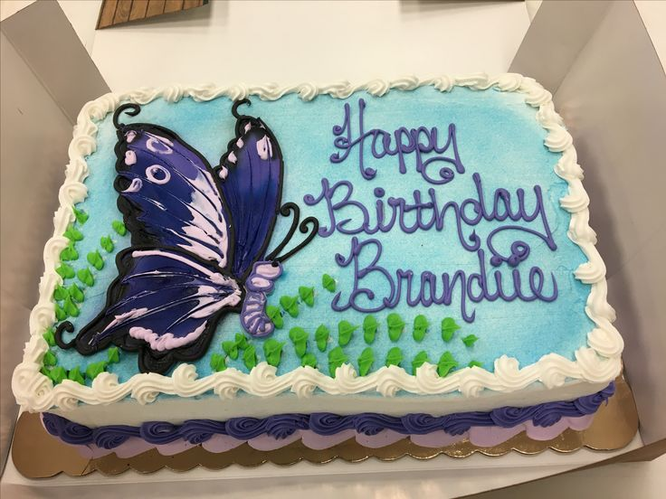 Buttercream butterfly cake. 1/4 sheet chocolate cake, fresh strawberry filling decorated with buttercream