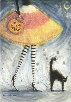 Image result for Witch and cat acrylic paintings