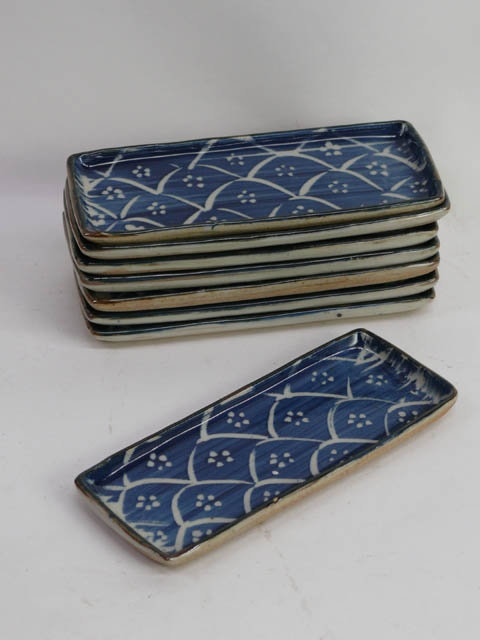 Japanese sushi dish blue and white china, rectangular, 23cm long. **X8 available to hire** (Stock code;- PLAO10027) www.farley.co.uk