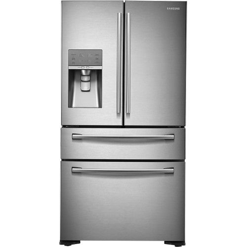 Samsung - 22.6 Cu. Ft. Counter-Depth 4-Door French Door Refrigerator with Thru-the-Door Ice and Water - Stainless Steel - Front Zoom