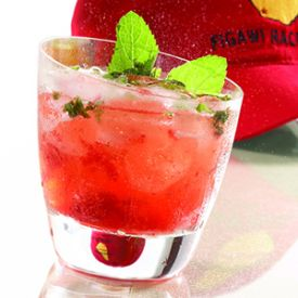 Jamaican Me Crazy!: Bacardi White Rum, Malibu Coconut Rum, Banana Liqueur, Cranberry Juice, Pineapple Juice.